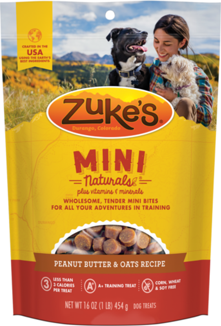 Photo of the front side of a 16-oz bag of Zuke's Mini Naturals Peanut Butter & Oats.