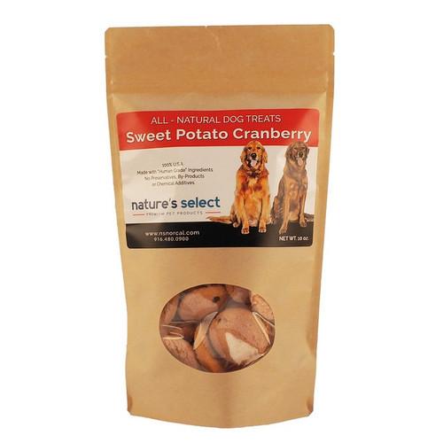 10-oz bag of Sweet Potato Cranberry dog  cookies.