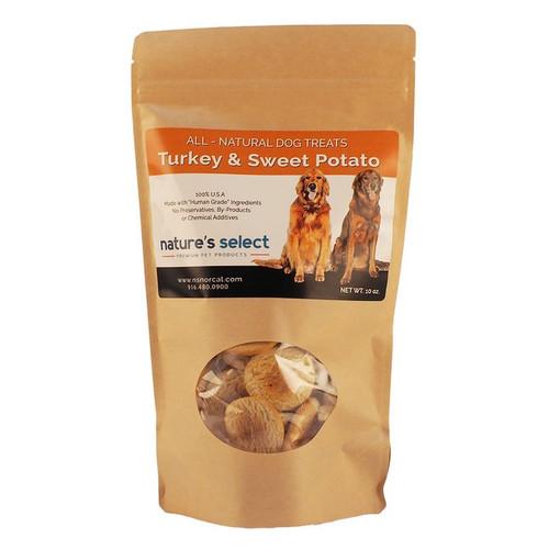 10-oz bag of Turkey & Sweet Potato dog  cookies.