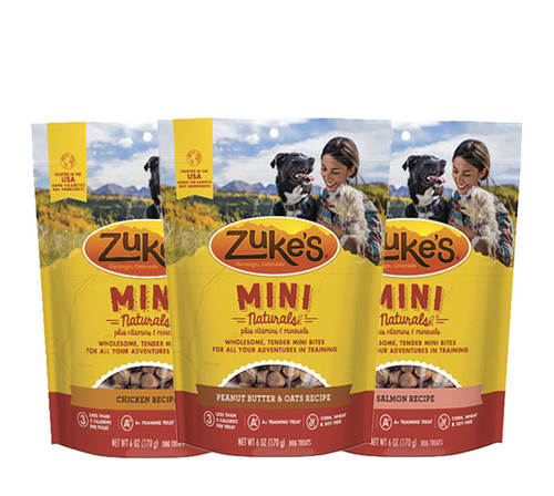 Image of 3 bags of Zuke's Mini Naturals showing different flavors...Chicken, Peanut Butter & Oats, and Salmon.