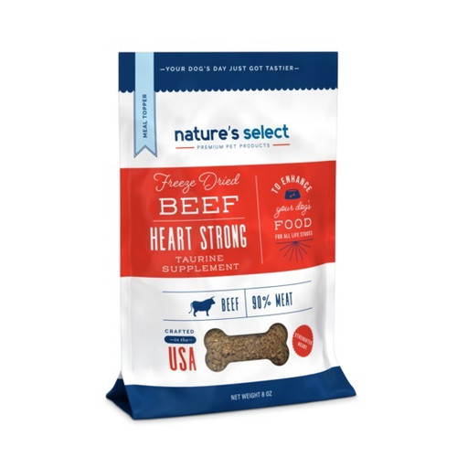 Image of an 8-oz bag of Nature's Select Beef Heart Strong Supplement Meal Topper.