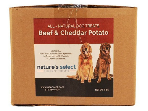 5-lb box of Beef & Cheddar Potato dog  cookies.