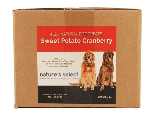 5-lb box of Sweet Potato Cranberry dog  cookies.