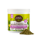 Photo of the front side of Earth Animal Daily Herbal Internal Powder Yeast Free 8-oz container with a small mound of the mossy green-colored powder next to it.