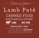 Nature's Select Lamb & Rice Paté Canned Food card with guaranteed analysis, meat protein source, and calorie content.