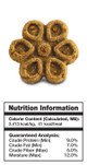 Image of single Fruitables Biggies Peanut Butter & Banana dog treat with nutrition information.