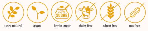 Vegan Friendly, low in sugar, dairy free, wheat free, low in sugar