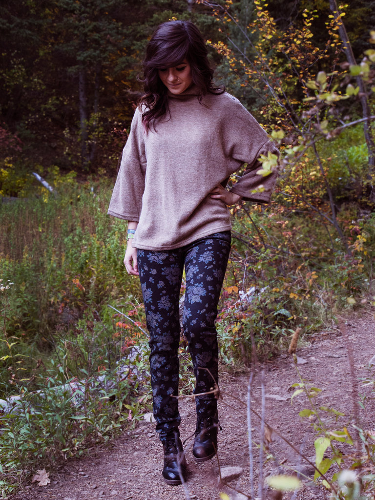 Floral Print Black Skinny Jeans (paired with our Snap Collar Turtleneck)