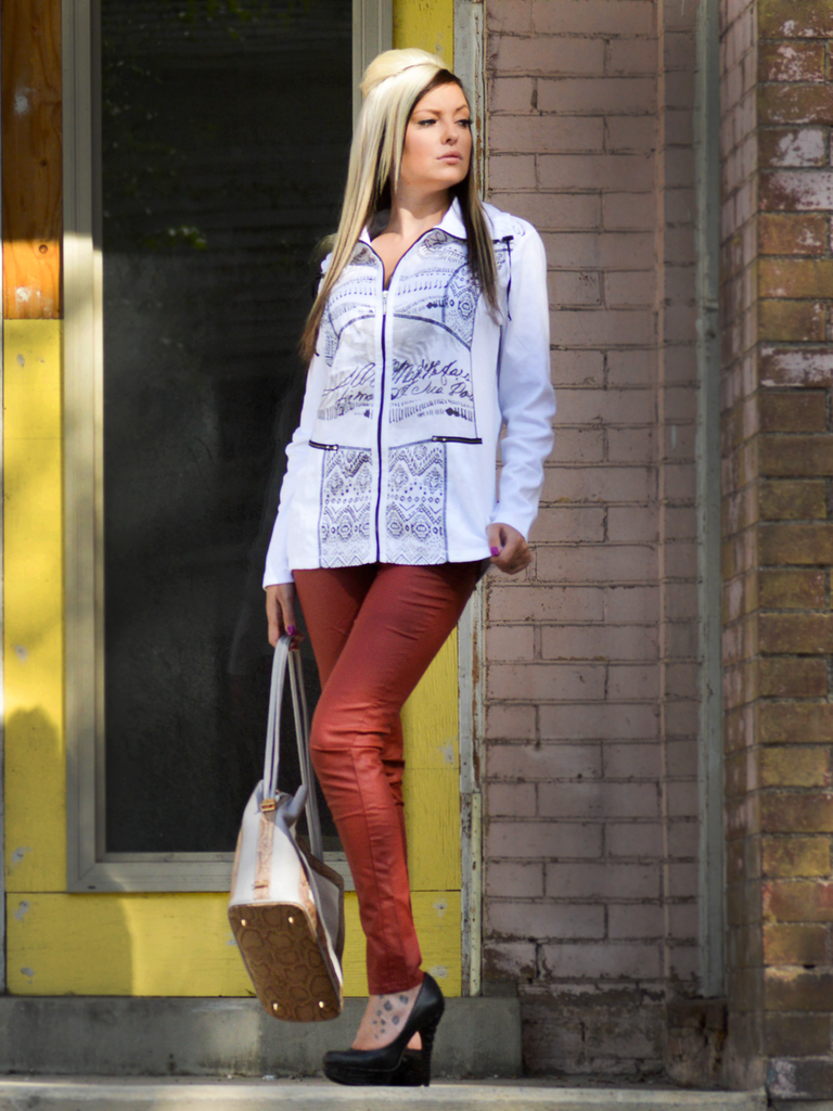 White Zip Up Jacket - Portugal Import (Paired With Our Skinny Faux Leather Pants in Rust)