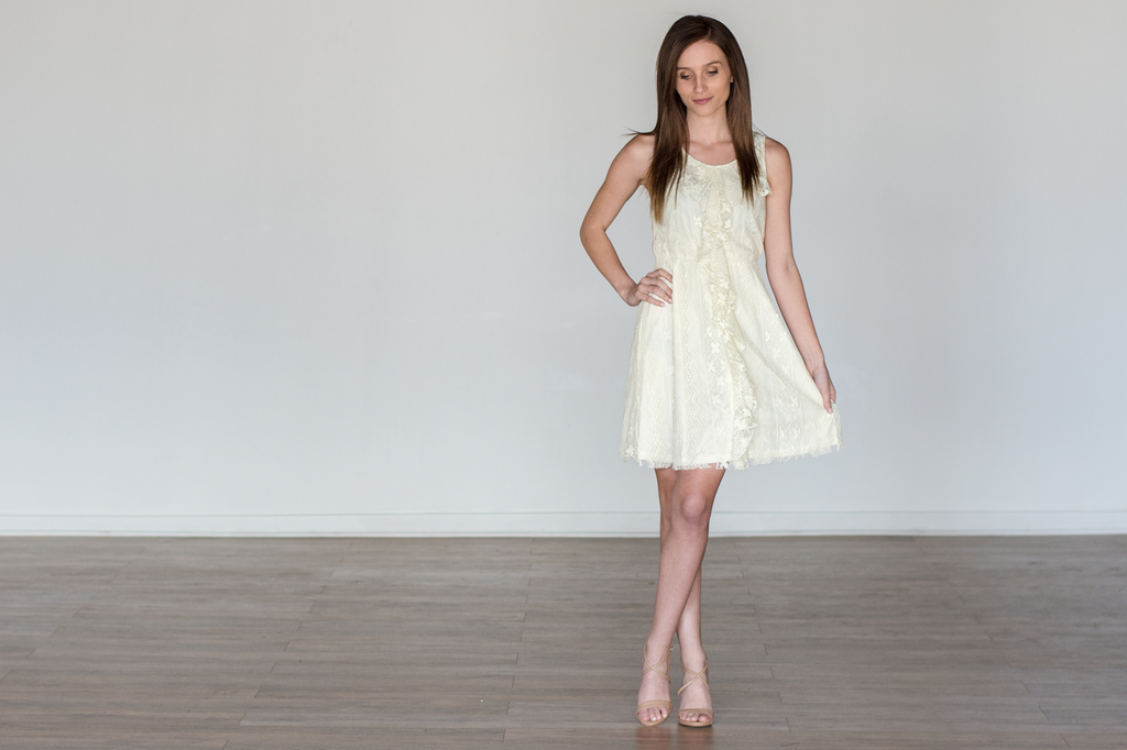 Cream Lace Sleeveless Dress
