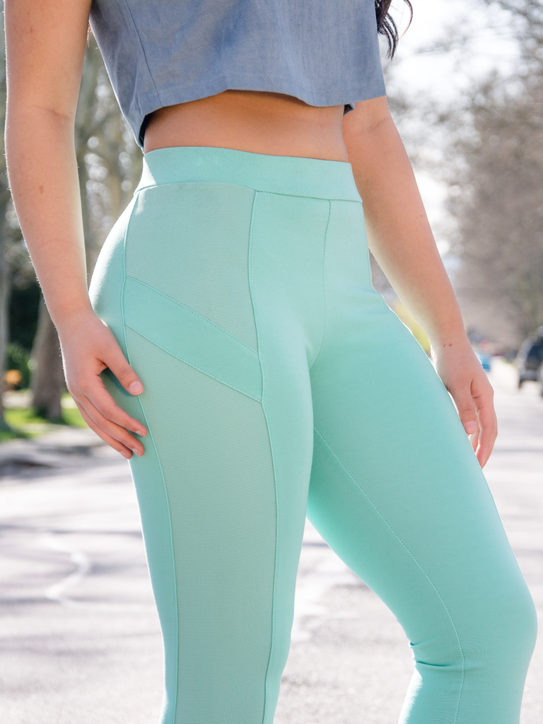 Mint Leggings (paired with our Dusty Blue Suede Crop Top)