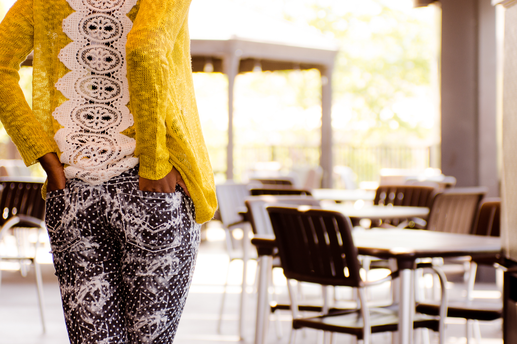 Polka Dot Skinny Jeans (paired with our Avocado Lace Back Sweater)