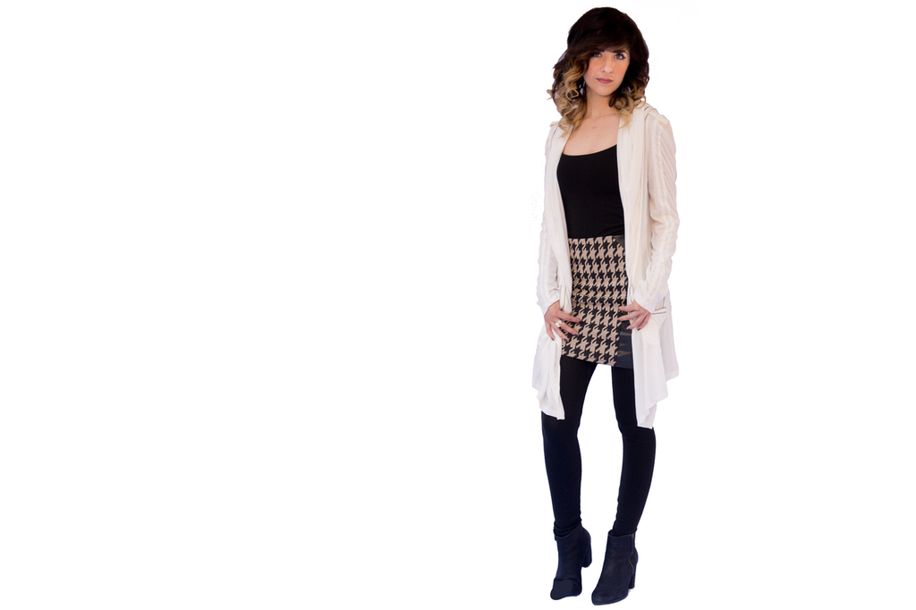 Houndstooth Leather Skirt (paired with our Hooded Zipper Cardigan)