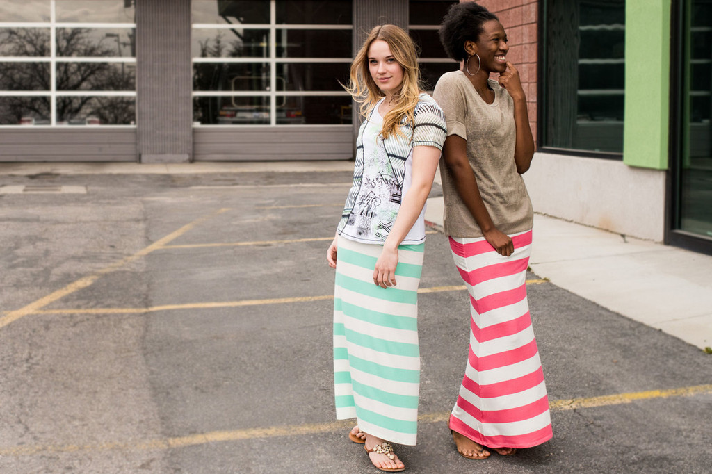 Striped Maxi Skirts in Mint and Pink