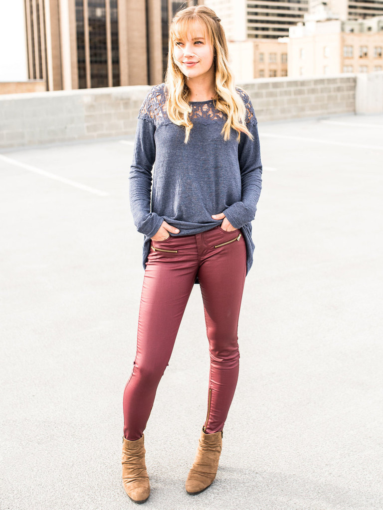 Faux Leather Skinny Jeans  in Wine