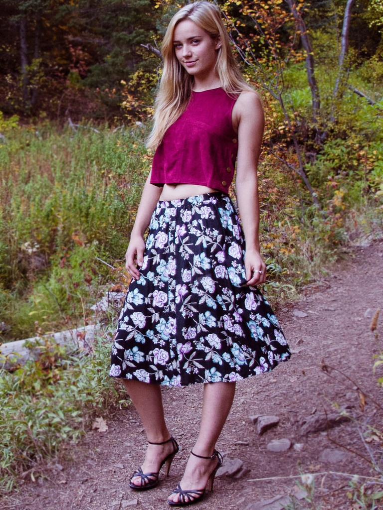 Wine Suede Crop Top (paired with our Floral Button Down Skirt)