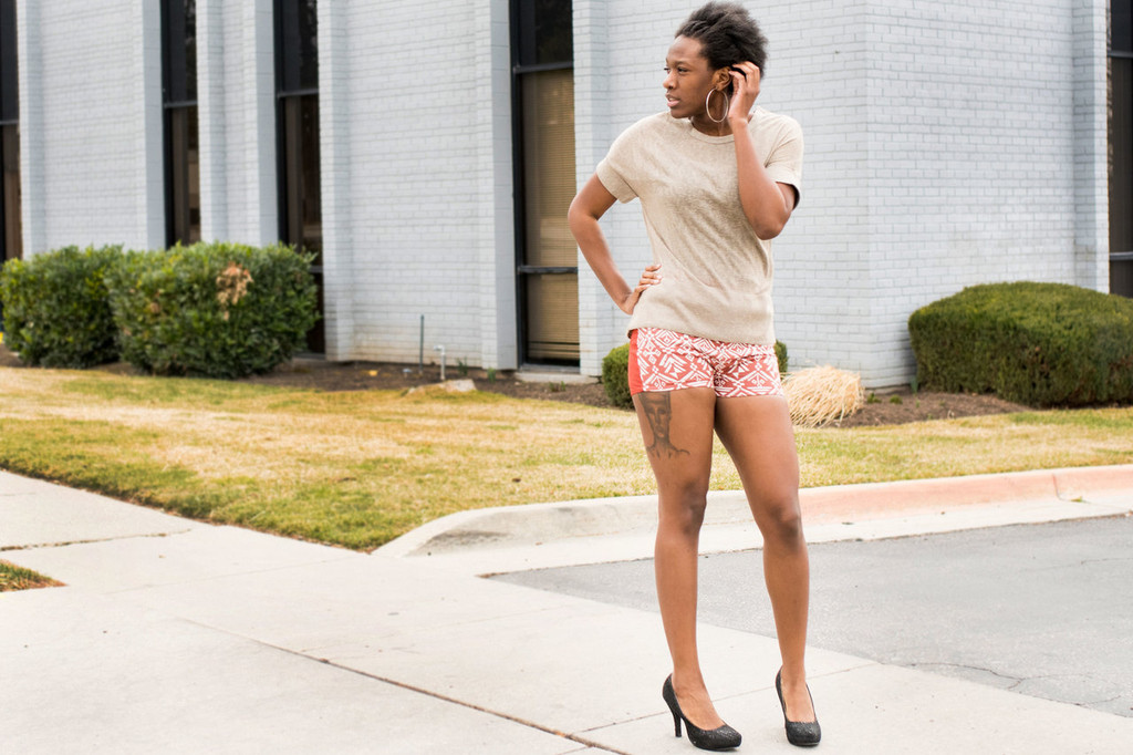 Aztec Front Rust Shorts (paired with our Cuffed Crew Neck Tee)