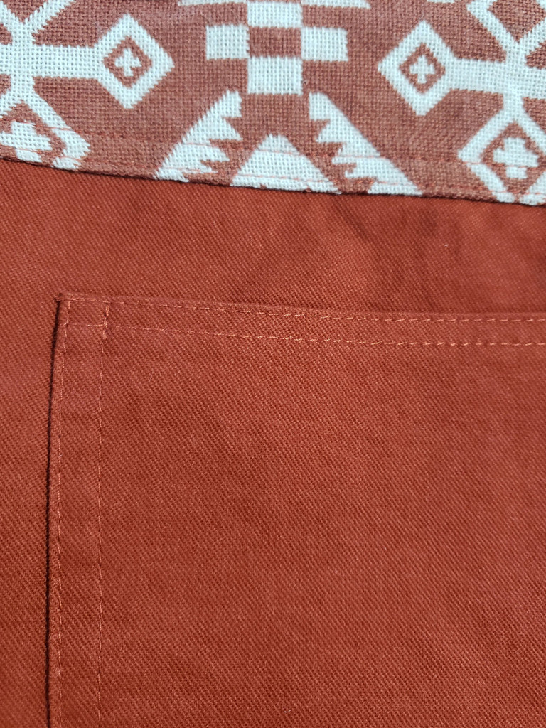 Aztec Front Rust Shorts back detail