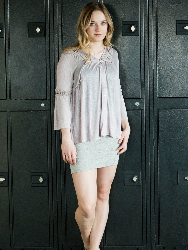 Lavender and Lace Bell Sleeve Button Down paired with our Silver High Waist Mini Skirt