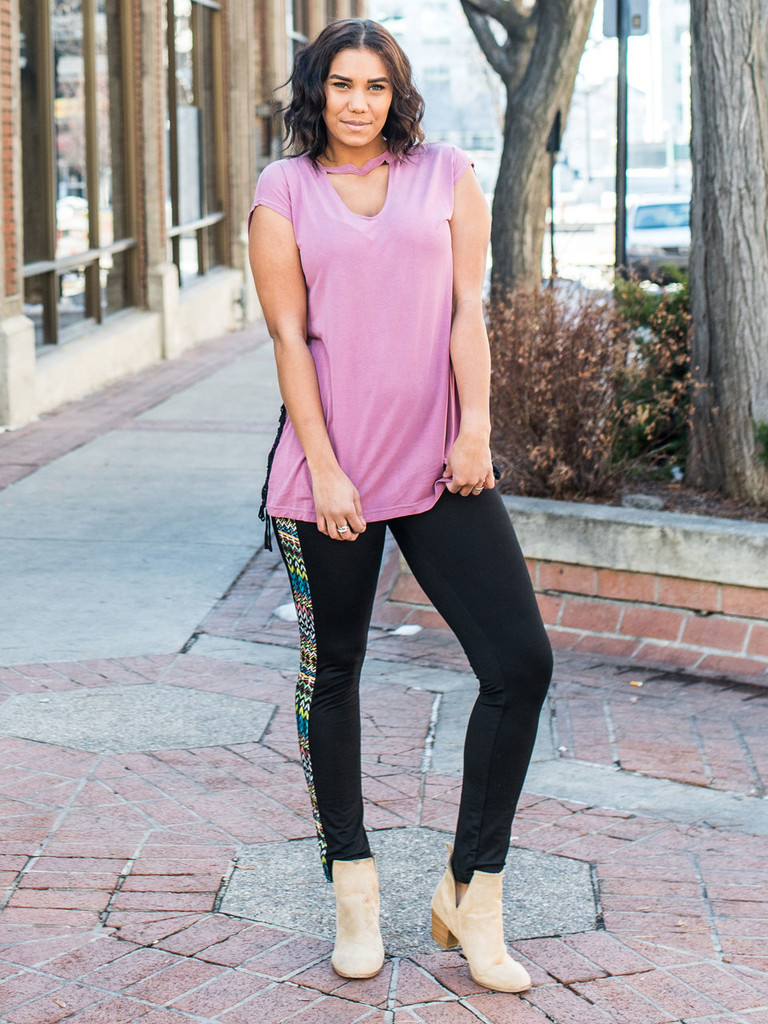 Drop Shoulder with Choker Top in pink