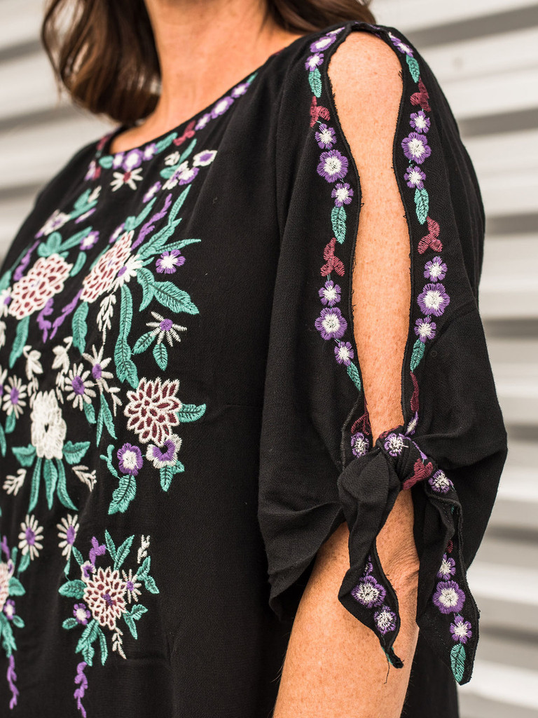 Embroidered Black Cold Shoulder Dress with Ties detail