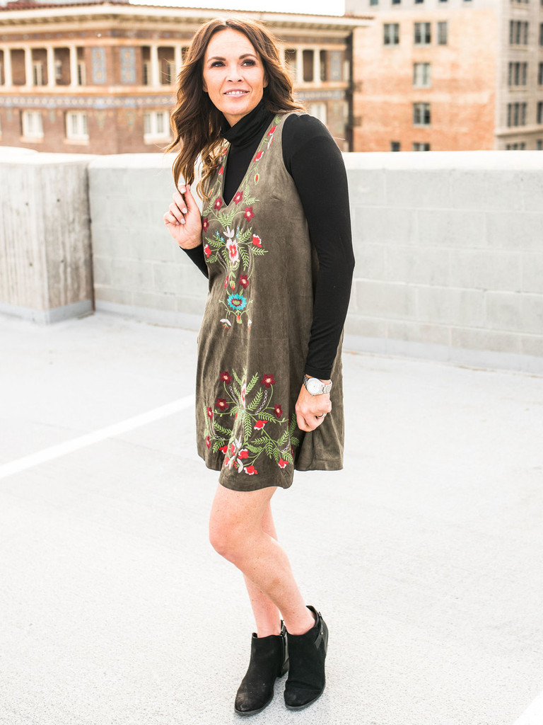 Suede V-Neck Embroidered Dress