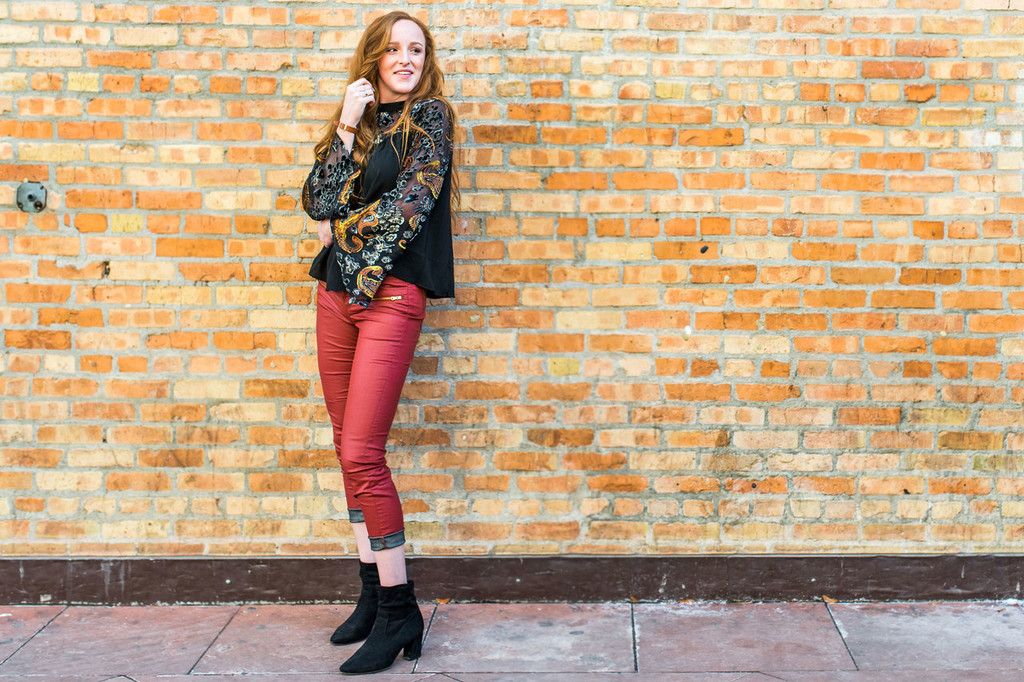 Velvet and Paisley Bell Sleeve Top (paired with our Faux Leather Skinny Jeans)