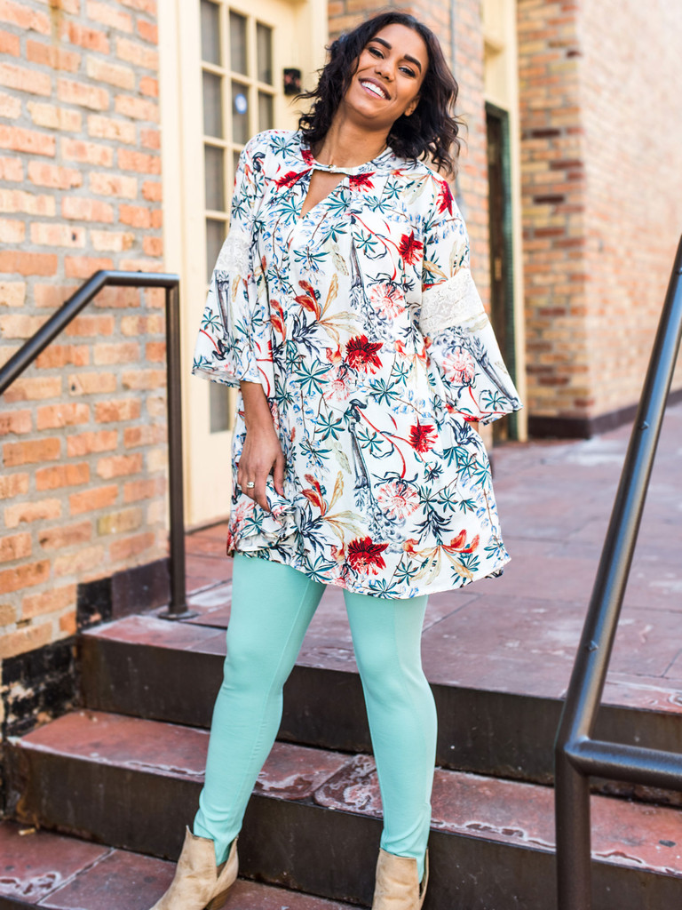 Floral Keyhole Top with Lace Bell Sleeves (paired with our Mint Leggings)