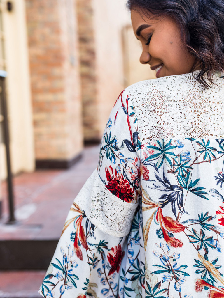 Floral Keyhole Top with Lace Bell Sleeves detail