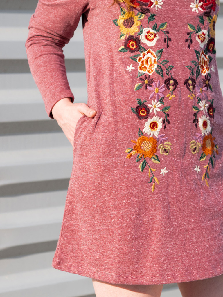 The Angela Embroidered Long Sleeve Dress
