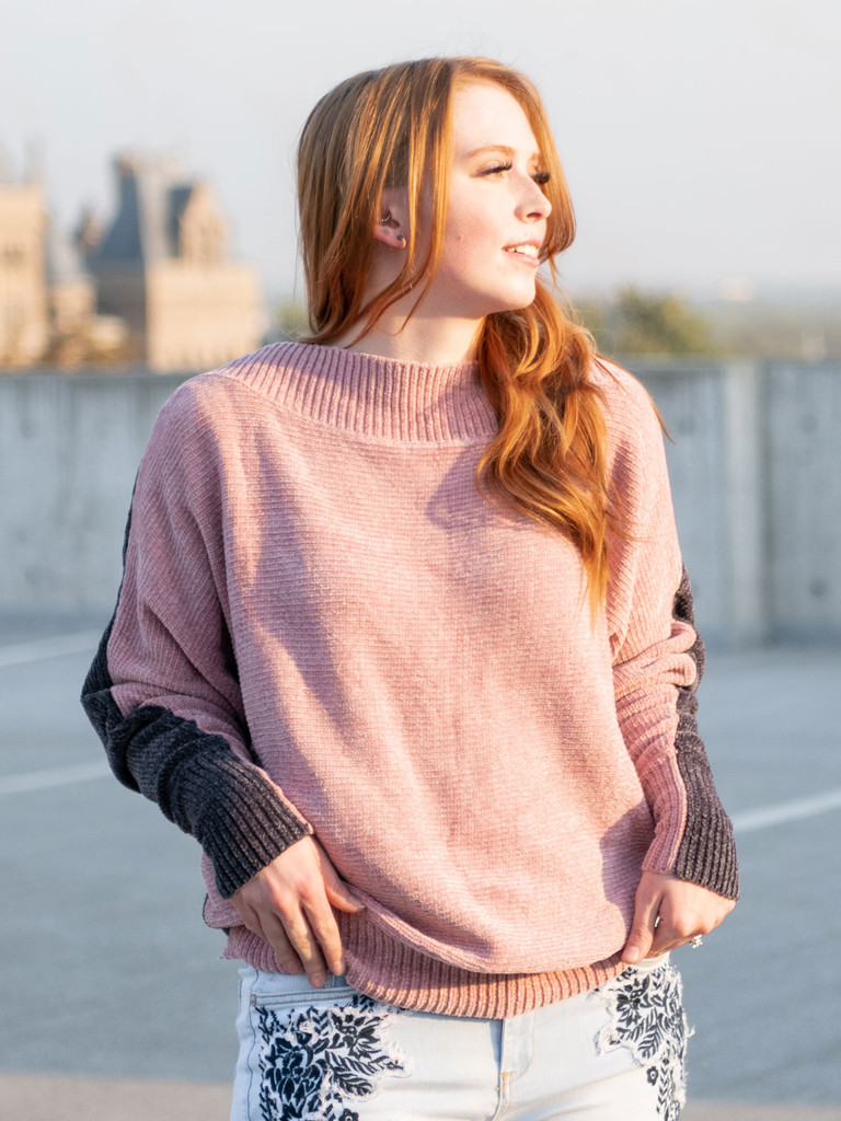 The Addison Two Tone Chenille Sweater in Pink & Grey