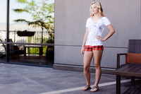 Cream Patchwork T - Portugal Import (Paired With Our Plaid Shorts in Orange)