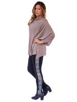 Pixelated Side Leggings (paired with our Cowl Drape Top in Grey)