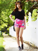 Floral Fuchsia High Waist Shorts (paired with our Split Fitted Top in Black).