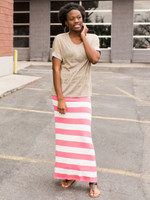 Striped Maxi Skirt in Pink