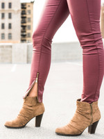 Faux Leather Skinny Jeans zipper detail