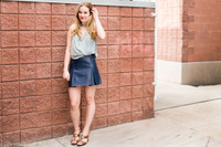 Navy Pleated Faux Leather Skirt