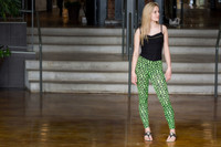 Geo Print Neon Green Leggings (paired with our Black and Gold Lace Cami)