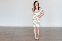 Jeweled Sleeve Striped Dress