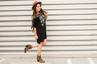Embroidered Black Cold Shoulder Dress with Ties