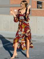 The Bonnie Floral High Low Maxi Dress in Burgundy