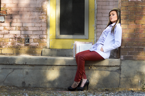 White Zip Up Jacket - Portugal Import (Paired With Our Skinny Faux Leather Pants in Wine)