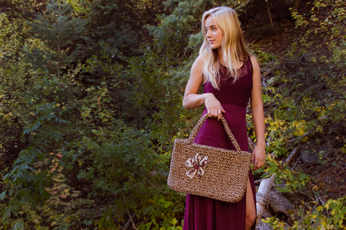 Driftwood Rope Tote - A Boutique Martí Exclusive (paired with our Lace Top Maxi Dress in Wine)