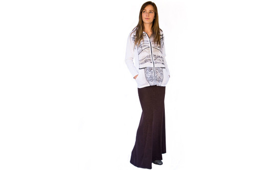 Espresso Fold Over Maxi Skirt (paired with our White Zip Up Jacket from our Portugal Collection)