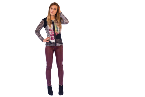 Sheer Sleeve Zip Up Top (paired with our Faux Leather Skinny Jeans)