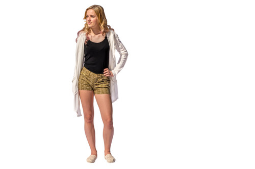 Olive Tribal Shorts (paired with our Hooded Zipper Cardigan)
