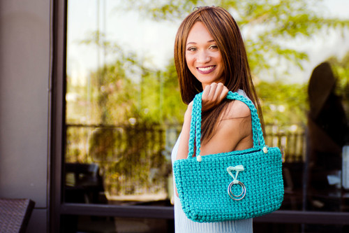 Teal Rope Knit Hand Bag - A Boutique Martí Exclusive