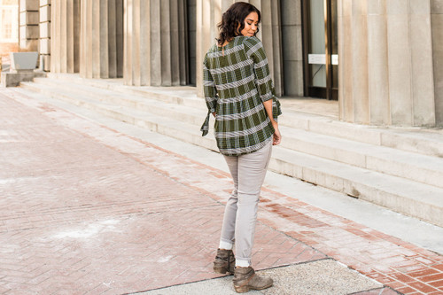 Plaid High Low Olive Top (paired with our Light Grey Wash Skinny Jeans)