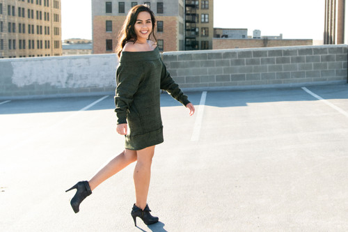 The Off Shoulder Sweater Dress in Olive