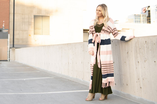 Striped and Tasseled Cardigan